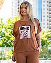 Летний женский спортивный костюм в больших размерах с шортами и удлиненной футболкой 83ba745, фото 3