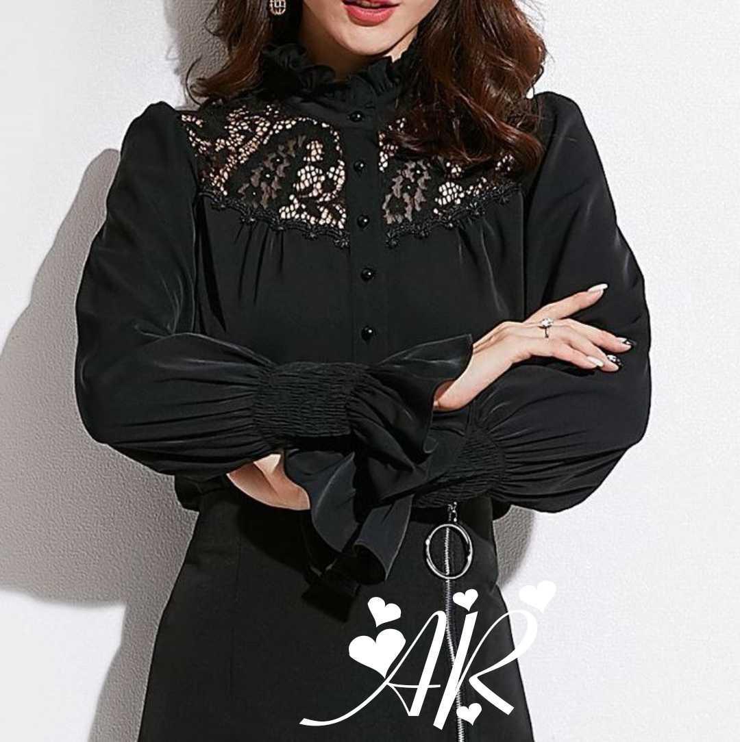 Черная и белая шифоновая рубашка с гипюровыми вставками 79rz375