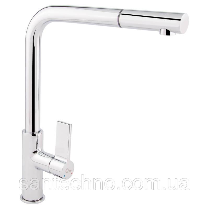 Стильный смеситель для кухни с выдвижным изливом Q-tap Iris CRM 007F