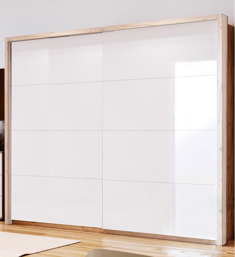 Шкаф-купе в спальню, в прихожую Асти 2,0 AS-22-WB MiroMark дуб крафт/белый глянец (без карниза)