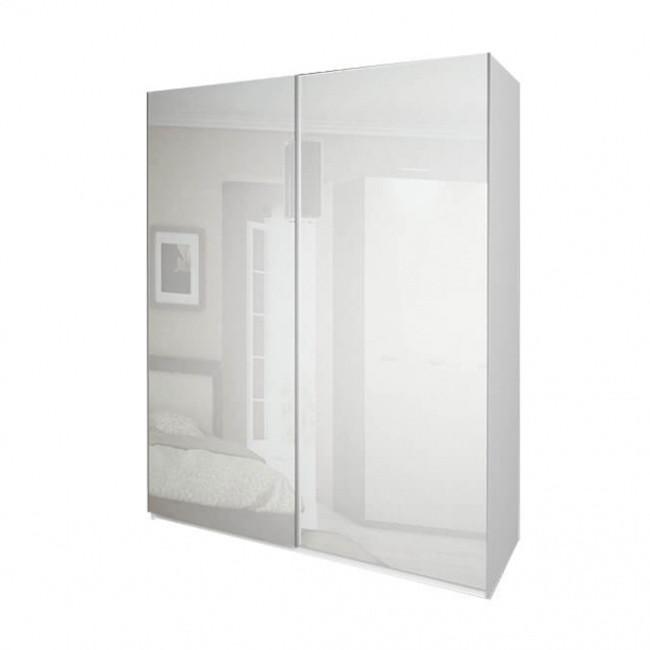 Шкаф-купе в спальню, в прихожую Белла 1,5 BL-19-WB MiroMark белый глянец