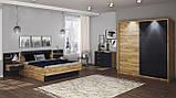 Кровать двуспальная с мягким изголовьем и ящиком Луна LN-38-LV MiroMark дуб крафт/черный, фото 3