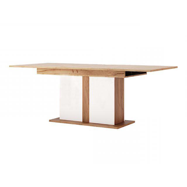 Стол обеденный раскладной в гостиную 1500х900 Асти AS-186-KR MiroMark дуб крафт/белый глянец