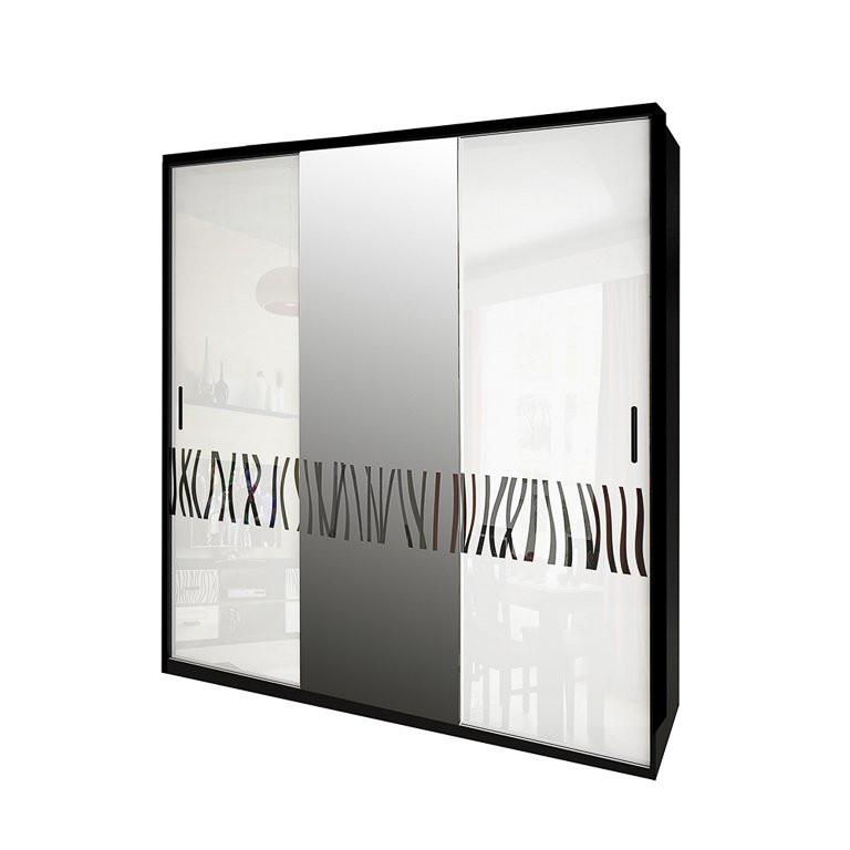 Шкаф-купе с зеркалом в спальню, в прихожую Терра 2,0 TR-20-WB MiroMark белый/черный