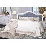 Ліжко двоспальне з м'яким узголів'ям Луїза LZ-36-WB MiroMark білий глянець, фото 2
