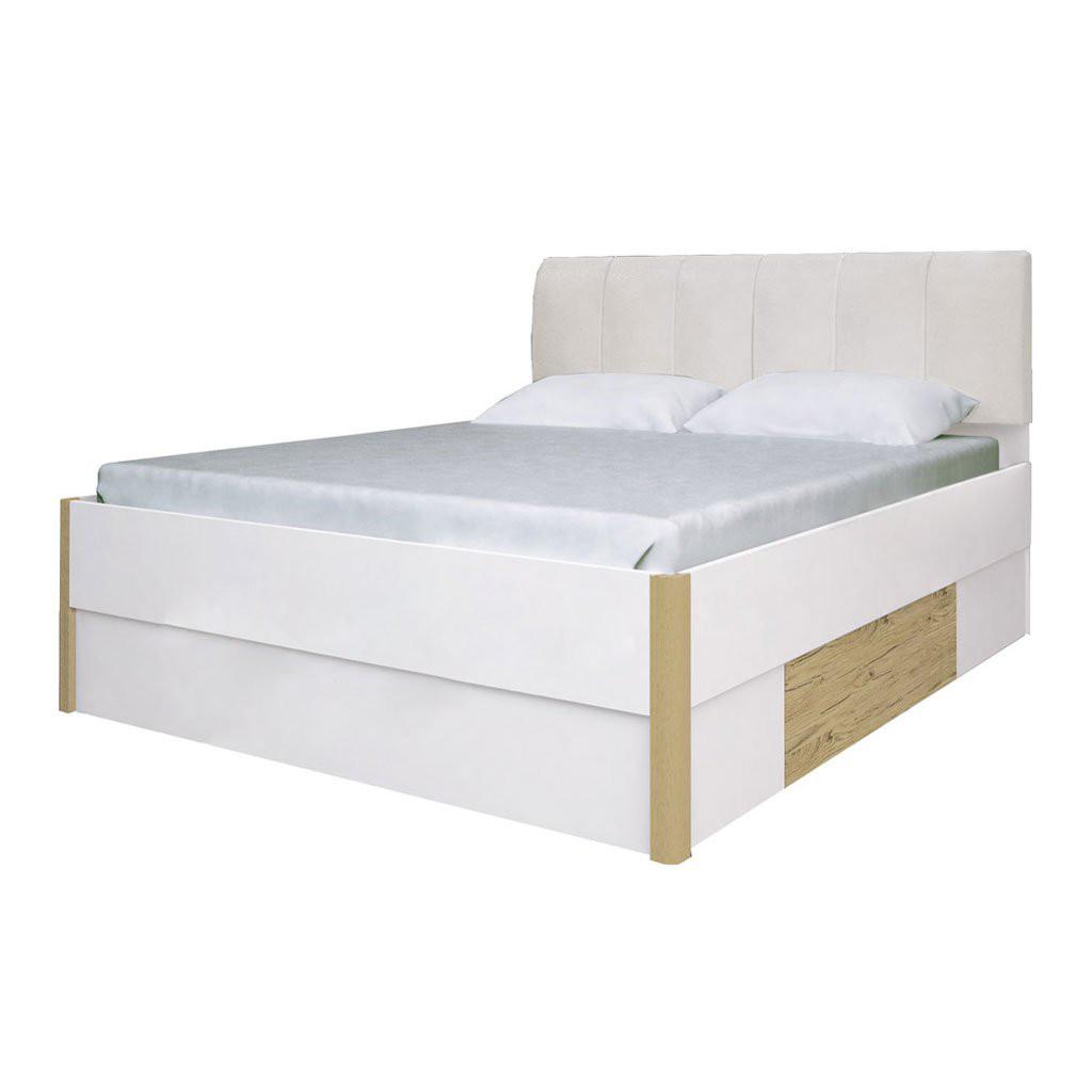 Ліжко двоспальне з м'яким узголів'ям і двома висувними ящиками Флоренція FR-38-WB MiroMark дуб сан