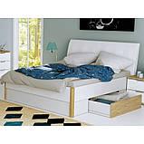 Ліжко двоспальне з м'яким узголів'ям і двома висувними ящиками Флоренція FR-38-WB MiroMark дуб сан, фото 3