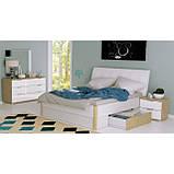 Ліжко двоспальне з м'яким узголів'ям і двома висувними ящиками Флоренція FR-38-WB MiroMark дуб сан, фото 4