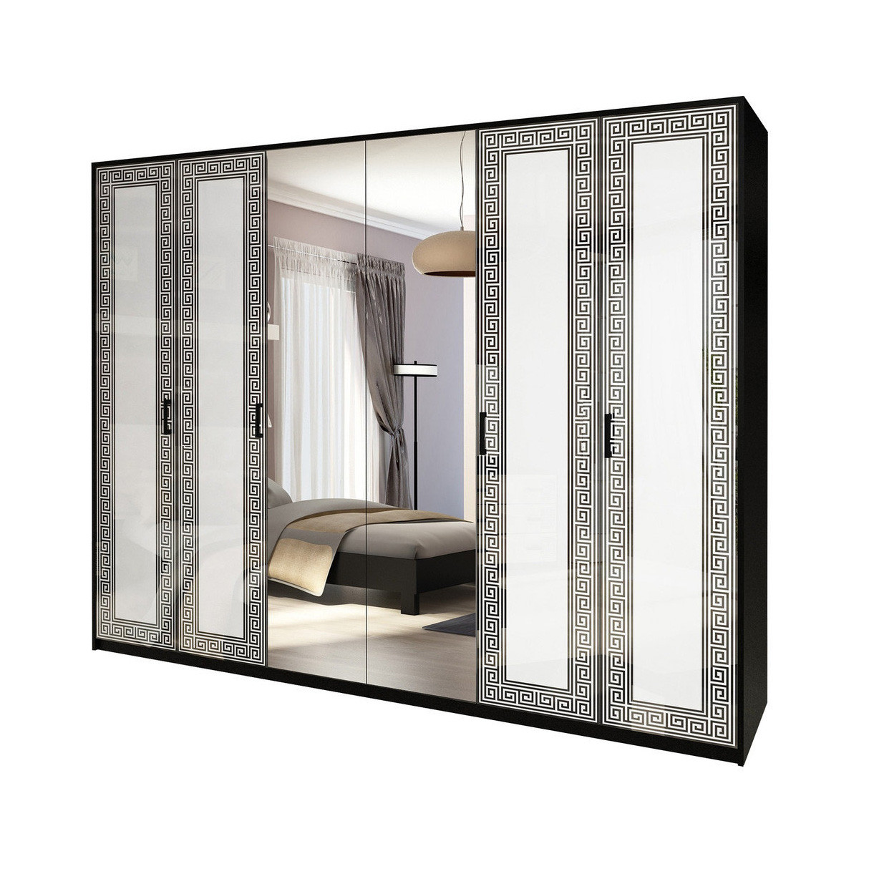 Шафа розпашній з дзеркалами в спальню, в передпокій Віола 6Д VL-16-WB MiroMark білий/чорний