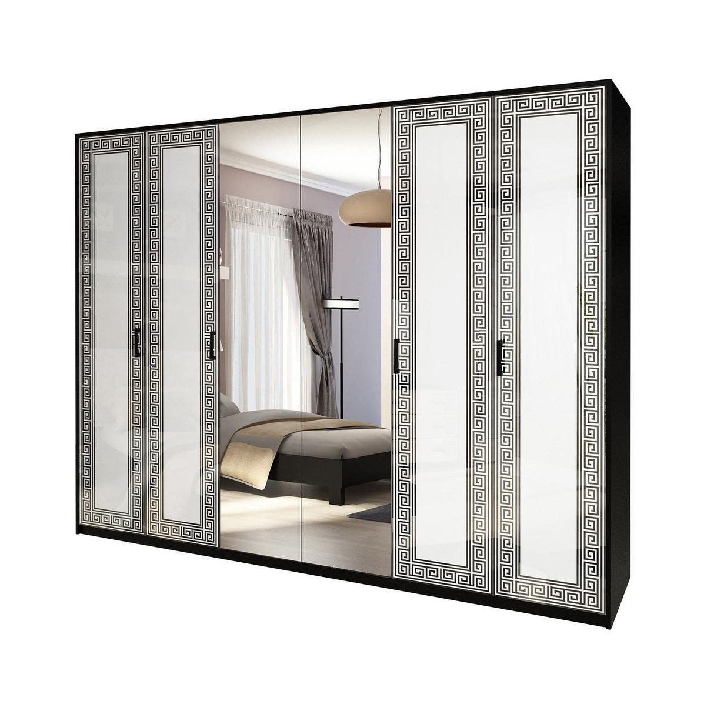 Шкаф распашной с зеркалами в спальню, в прихожую Виола 6Д VL-16-WB MiroMark белый/черный
