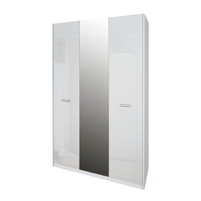 Шкаф распашной с зеркалом в спальню, в прихожую Белла 3Д BL-13-WB MiroMark белый глянец