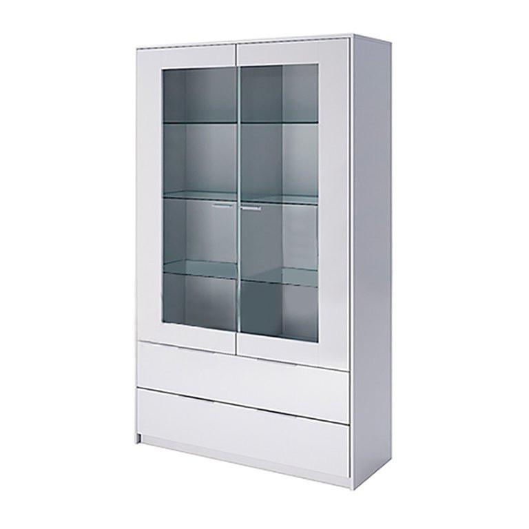Витрина в гостиную Рома 2Д RM-112-WB MiroMark белый глянец