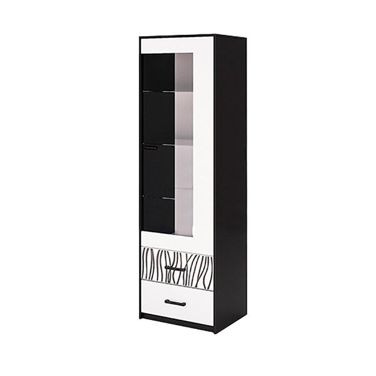 Витрина в гостиную Терра 1Д TR-111-WB MiroMark белый/черный