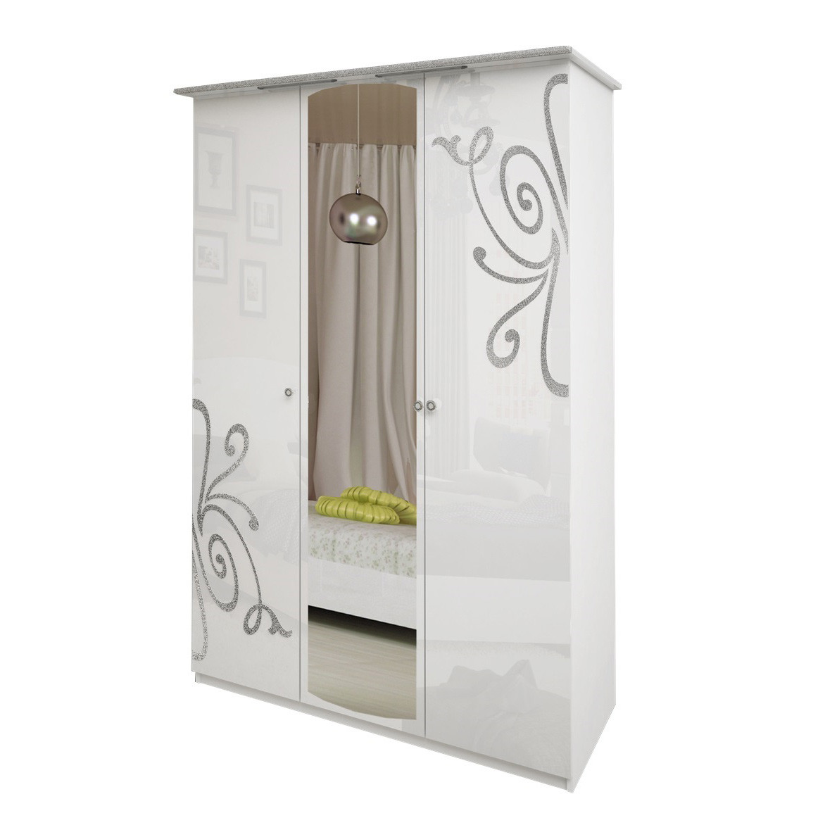 Шкаф распашной с зеркалом в спальню, в прихожую Богема 3Д BG-13-WB MiroMark белый глянец