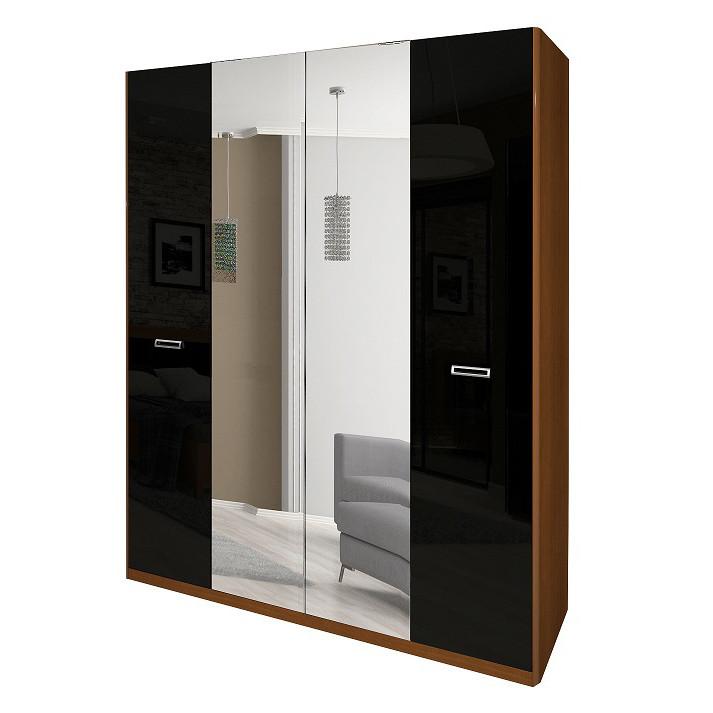 Шкаф распашной с зеркалами в спальню, в прихожую Белла 4Д BL-14-BL MiroMark вишня бюзум/черный глянец