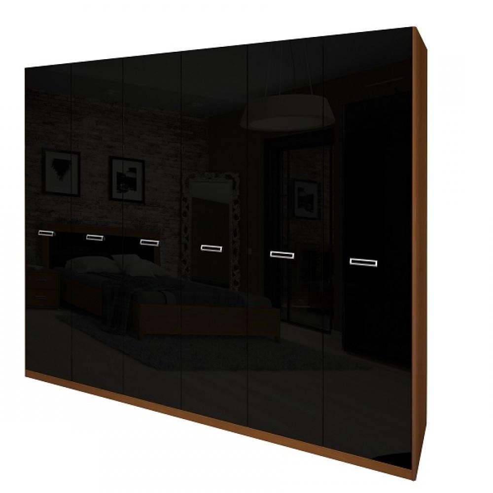 Шкаф распашной в спальню, в прихожую Белла 6Д BL-26-BL MiroMark вишня бюзум/черный глянец (без зеркал)