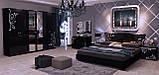 Шафа розпашній з дзеркалами в спальню, в передпокій Богема 6Д BG-16-BL MiroMark чорний глянець, фото 3
