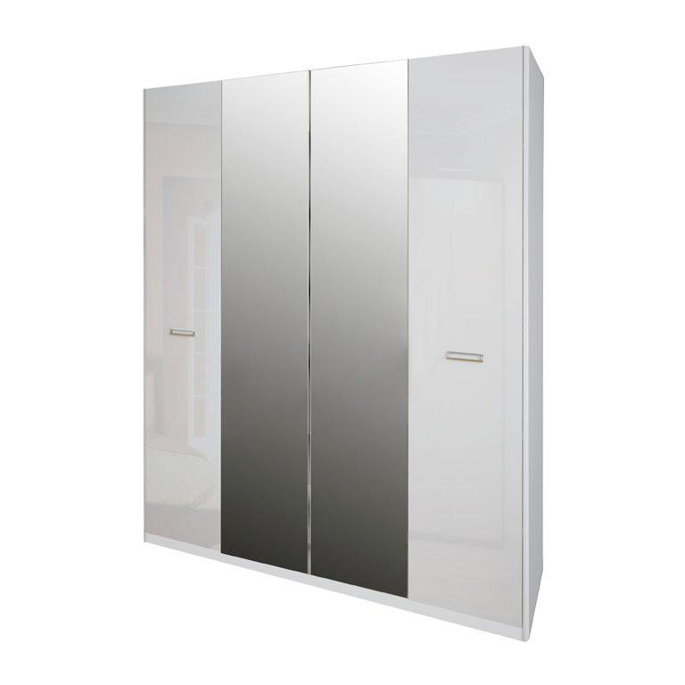 Шафа розпашній з дзеркалами в спальню, в передпокій Белла 4Д BL-14-WB MiroMark білий глянець