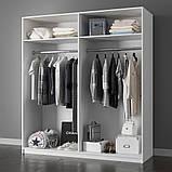 Шкаф распашной с зеркалами в спальню, в прихожую Белла 4Д BL-14-WB MiroMark белый глянец, фото 2