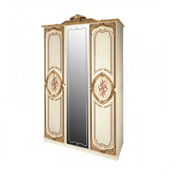 Шафа розпашній з дзеркалом у спальню, в передпокій Реджина Голд 3Д RGG-13-RB MiroMark бежевий/золотистий