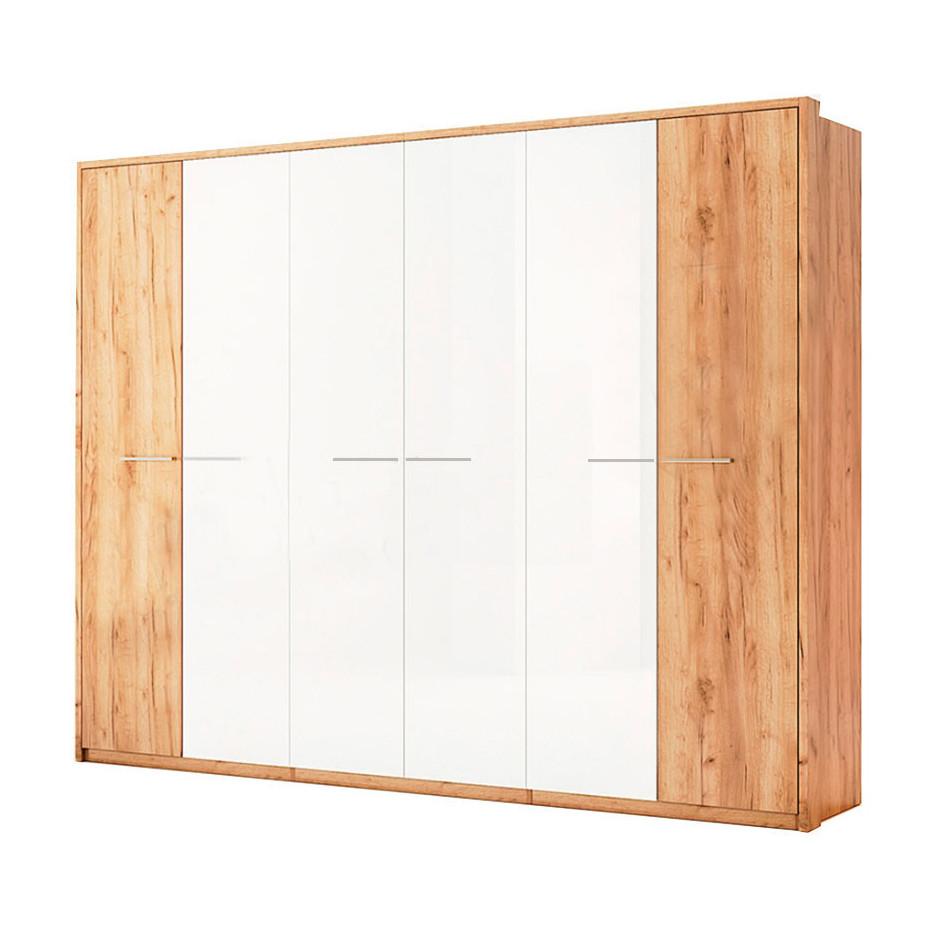 Шкаф распашной в спальню, в прихожую Ники 6Д NK-27-WB MiroMark дуб крафт/белый глянец (без зеркал)