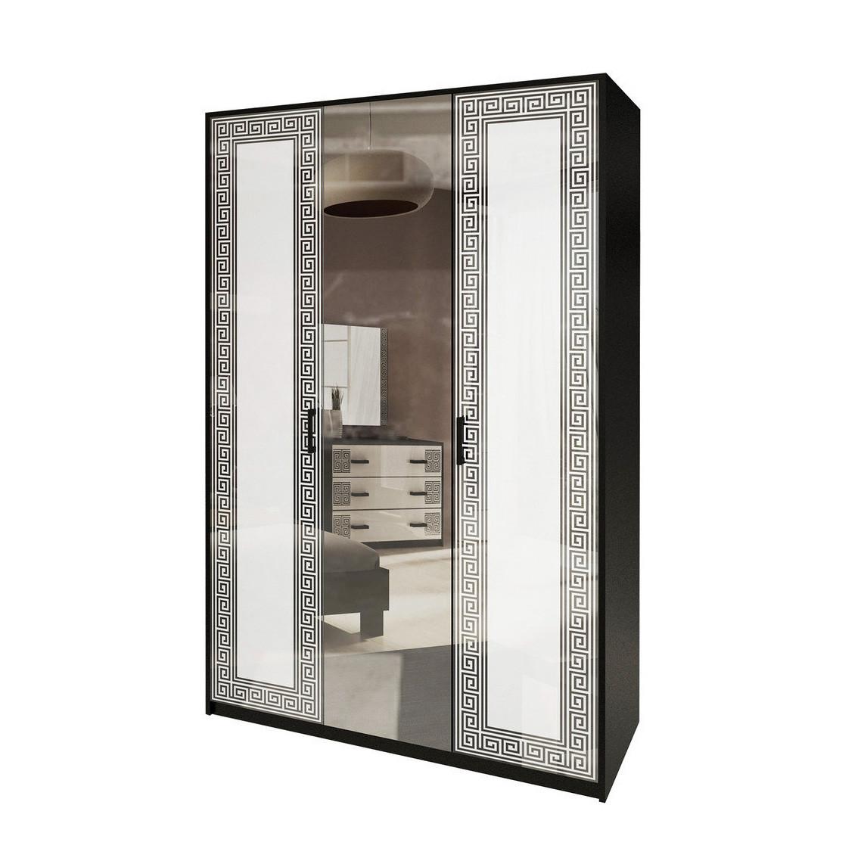 Шафа розпашній з дзеркалом у спальню, в передпокій Віола 3Д VL-13-WB MiroMark білий/чорний