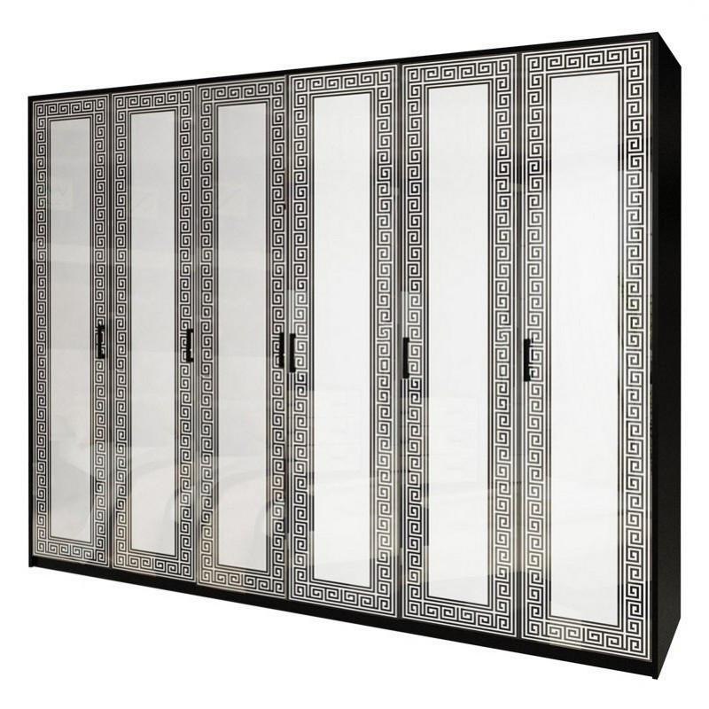 Шкаф распашной в спальню, в прихожую Виола 6Д VL-26-WB MiroMark белый/черный (без зеркал)