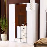 Шафа розпашній з дзеркалами в спальню, в передпокій Рома 4Д RM-14-WB MiroMark білий глянець, фото 2