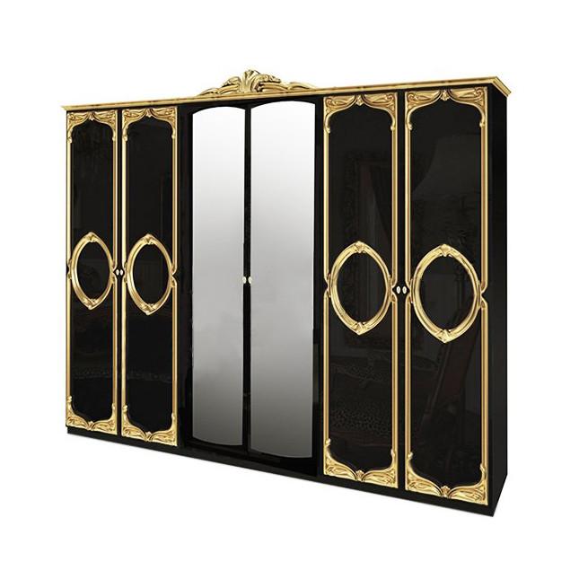 Шафа розпашній з дзеркалами в спальню, в передпокій Реджина Чорна 6ДRG-16-BG MiroMark чорний/золотистий
