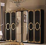 Шафа розпашній з дзеркалами в спальню, в передпокій Реджина Чорна 6ДRG-16-BG MiroMark чорний/золотистий, фото 2