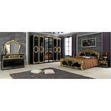 Шафа розпашній з дзеркалами в спальню, в передпокій Реджина Чорна 6ДRG-16-BG MiroMark чорний/золотистий, фото 5