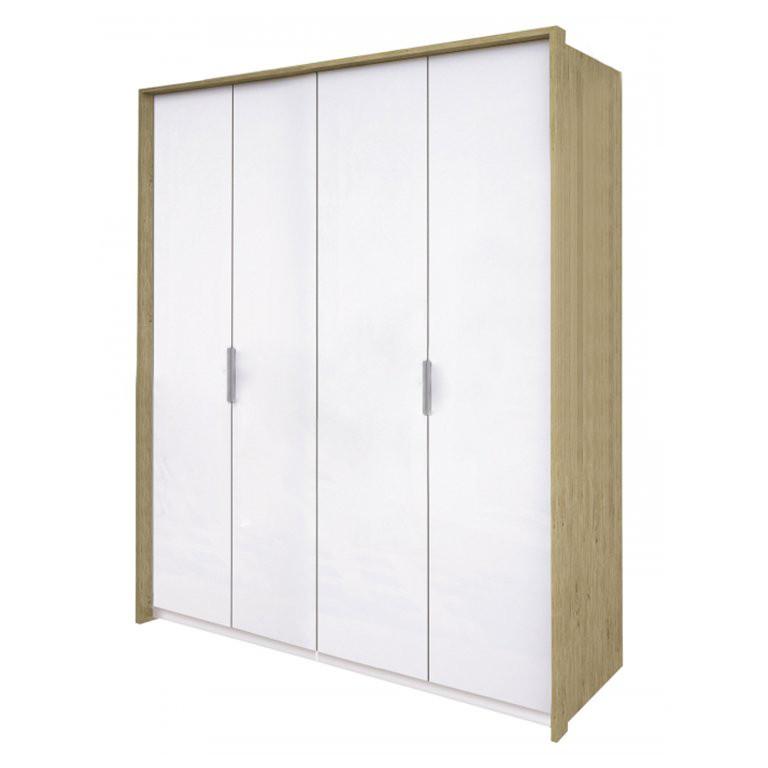 Шкаф распашной в спальню, в прихожую Флоренция 4Д FR-24-WB MiroMark дуб сан марино/белый глянец (без зеркал)