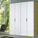 Шкаф распашной в спальню, в прихожую Флоренция 4Д FR-24-WB MiroMark дуб сан марино/белый глянец (без зеркал), фото 2