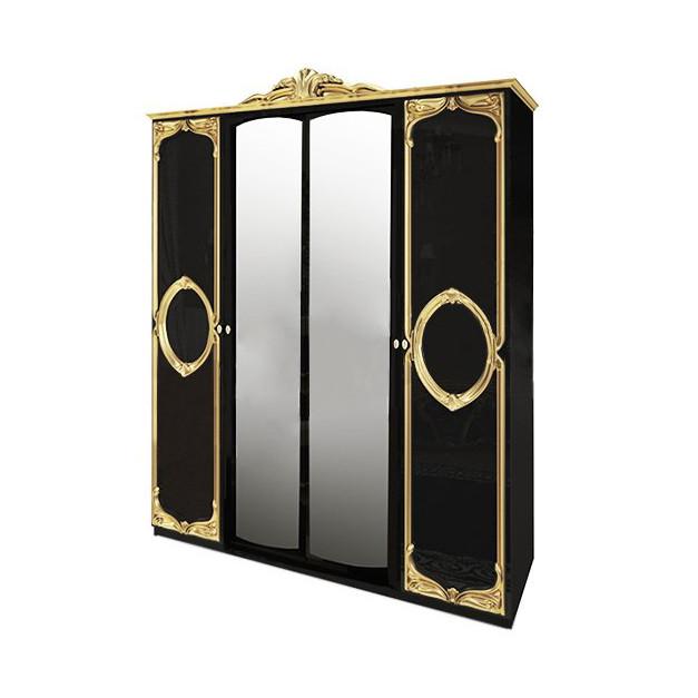 Шафа розпашній з дзеркалами в спальню, в передпокій Реджина Чорна 4Д RG-14-BG MiroMark чорний/золотистий