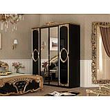 Шафа розпашній з дзеркалами в спальню, в передпокій Реджина Чорна 4Д RG-14-BG MiroMark чорний/золотистий, фото 3