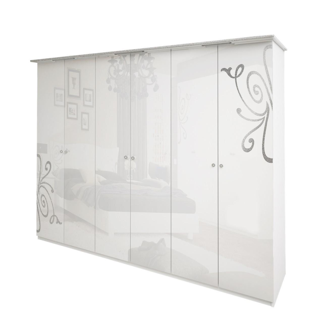 Шафа розпашній в спальню, в передпокій Богема 6Д BG-26-WB MiroMark білий глянець (без дзеркал)