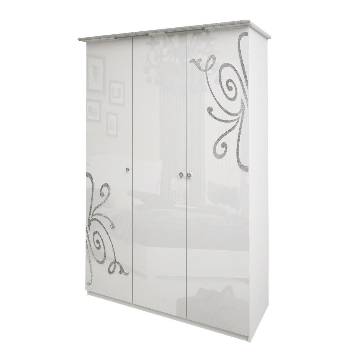 Шкаф распашной в спальню, в прихожую Богема 3Д BG-23-WB MiroMark белый глянец (без зеркал)