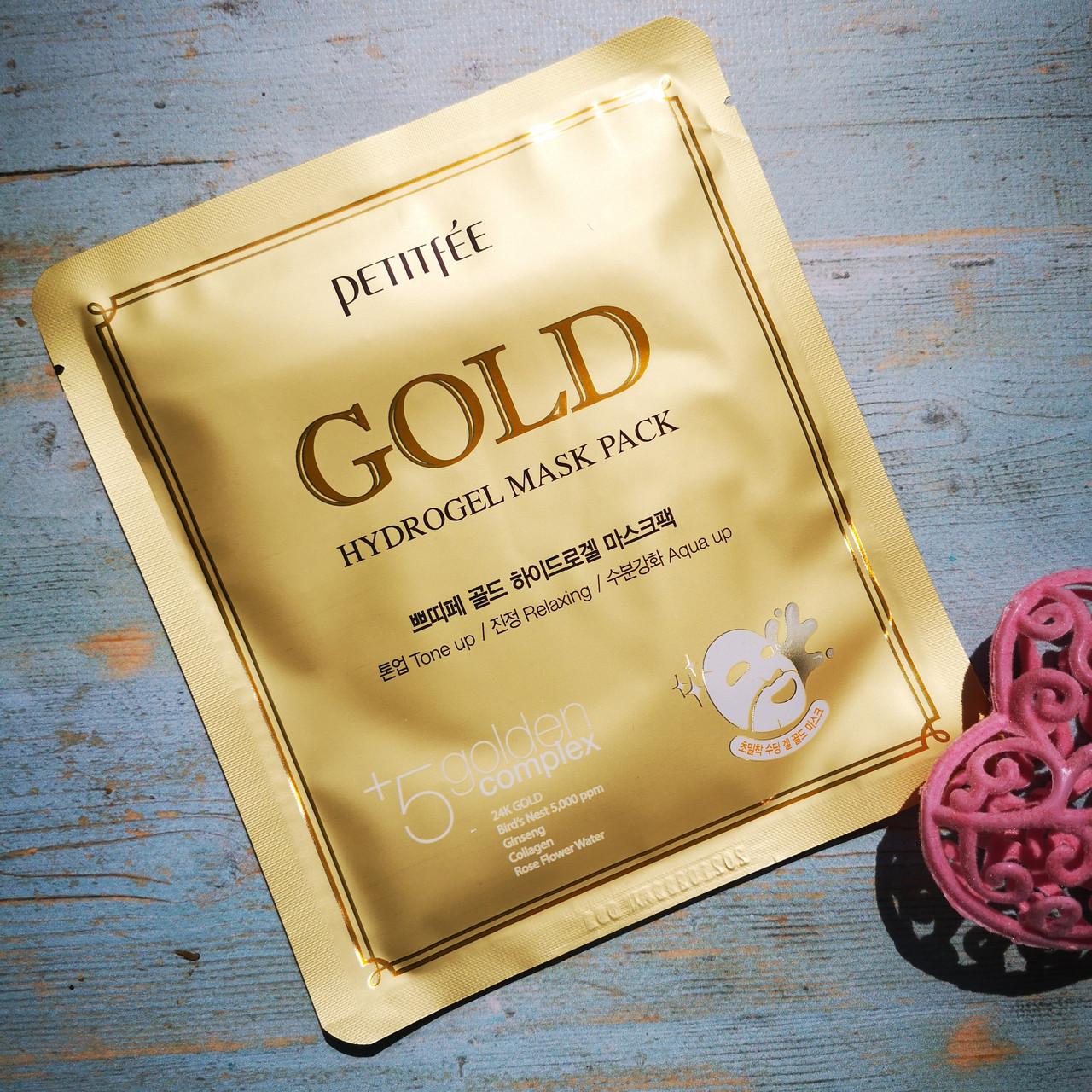 Petitfee Анти возрастные гидрогелевые маски с золотом Gold Hydrogel Mask Pack