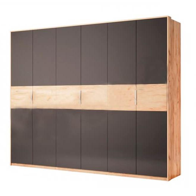 Шкаф распашной в спальню, в прихожую Рамона 6Д RА-26-LV MiroMark дуб крафт/черный