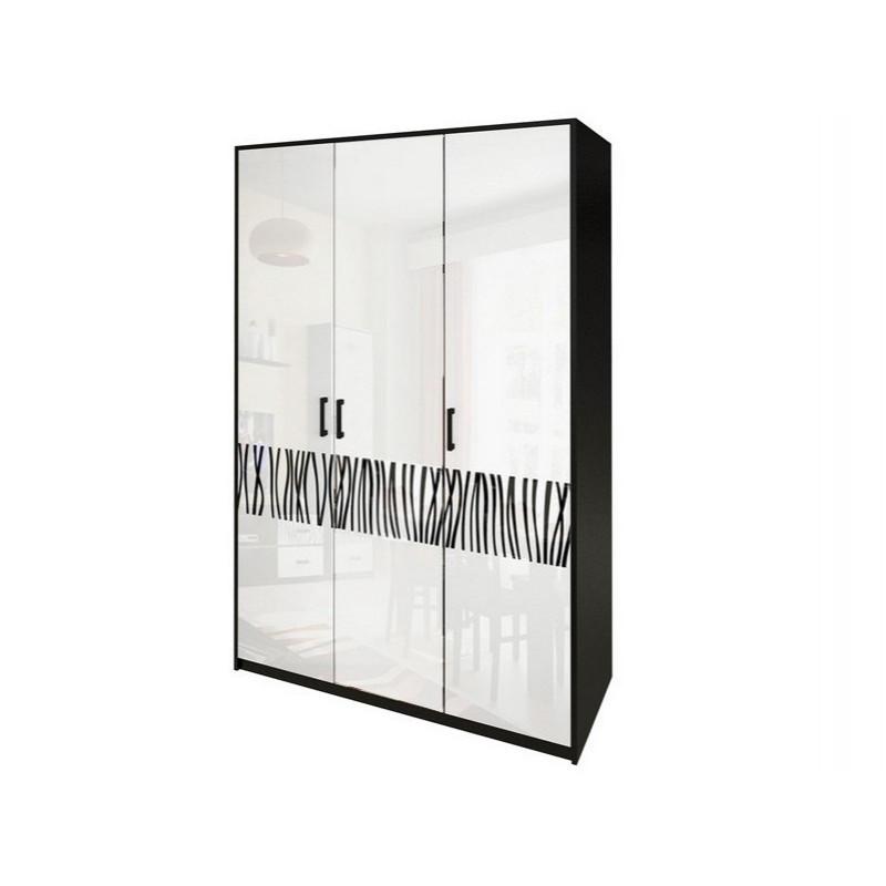 Шкаф распашной в спальню, в прихожую Терра 3Д TR-23-WB MiroMark белый/черный (без зеркал)