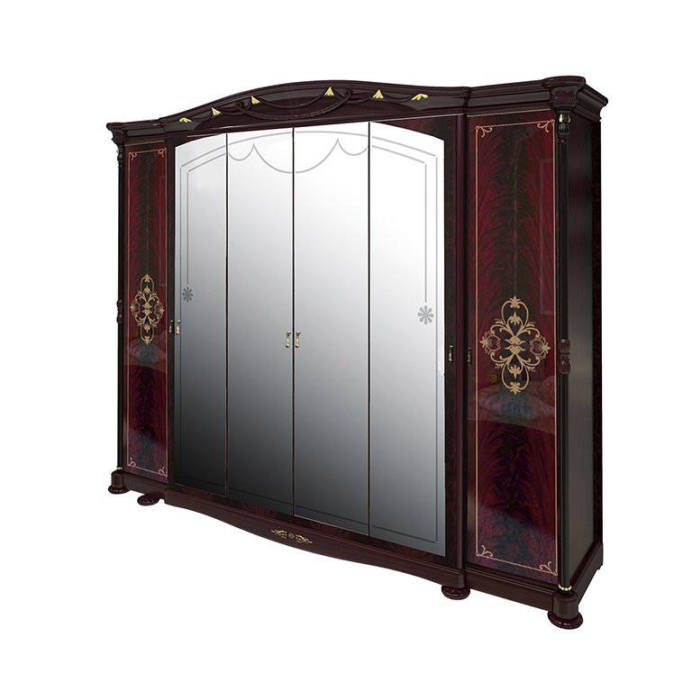 Шкаф распашной с зеркалами в спальню, в прихожую Роселла 6Д RS-16-PR MiroMark перо рубино