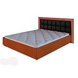 Ліжко двоспальне з м'яким узголів'ям та підйомним механізмом Белла BL-49-BL MiroMark вишня бюзум/чорний, фото 2