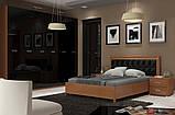 Ліжко двоспальне з м'яким узголів'ям та підйомним механізмом Белла BL-49-BL MiroMark вишня бюзум/чорний, фото 3