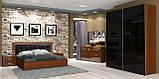 Ліжко двоспальне з м'яким узголів'ям та підйомним механізмом Белла BL-49-BL MiroMark вишня бюзум/чорний, фото 4