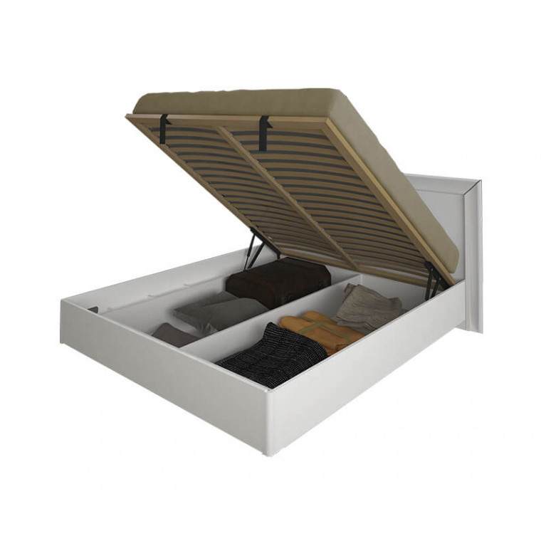 Кровать двуспальная с мягким изголовьем и подъемным механизмом Белла BL-49-WB MiroMark белый глянец