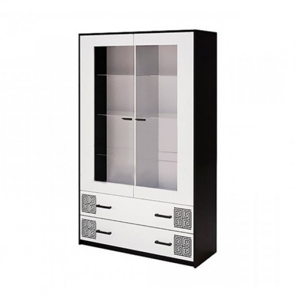 Витрина в гостиную Виола 2Д VL-112-WB MiroMark белый/черный