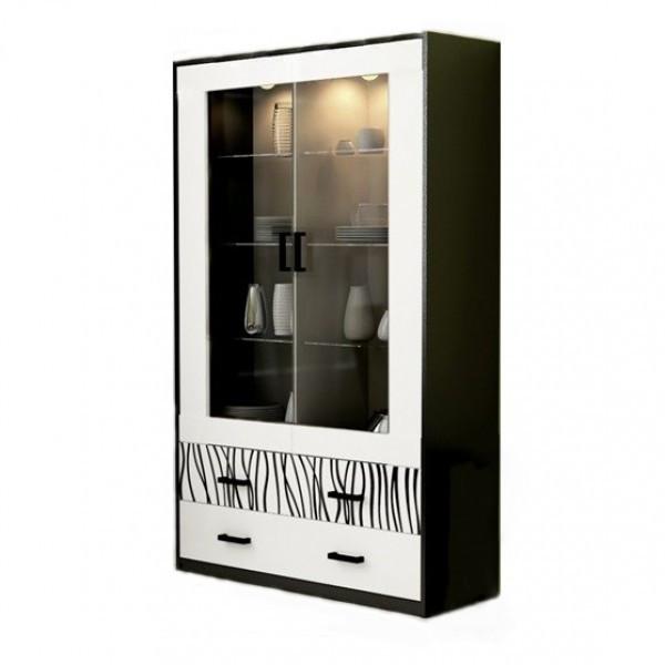 Витрина с подсветкой в гостиную Терра 2Д TR-112-WB/SDР-06 MiroMark белый/черный