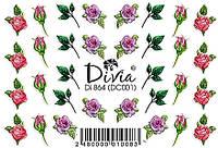 Наклейки для ногтей Divia водная 3D цветная Di864