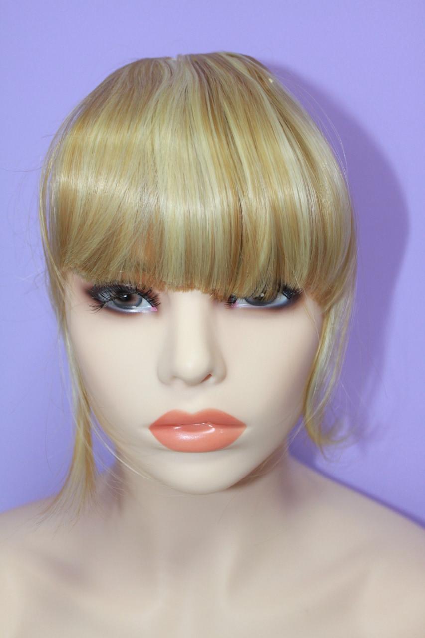 Челка на заколках искусственные волосы термоволокно прямая песочный с блондом