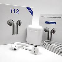 Беспроводные наушники i12 TWS белые. Беспроводные Bluetooth наушники i12 tws. Блютуз наушники i12, фото 1